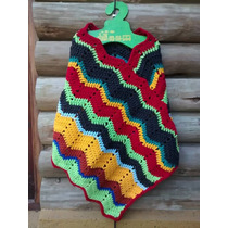 Poncho Artesanal Tejido Al Crochet Nena Niña, Saco, Lana
