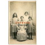 Antigua Foto Postal Retrato Mujer Y Niñas Capilla Del Señor