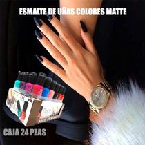 Esmalte Barniz De Uñas Caja 24 Pzas Colores Mate De Moda