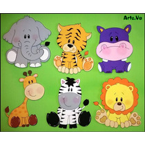 Animales De Selva En Goma Eva De 15cm Pack X 6