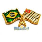 Pin/bótom Brasil X Bandeira Estado De São Paulo Resinado