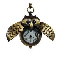 Buho Reloj Collar Dorado Gran Regalo Abren Sus Alas