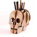 Portalapices Calavera Madera Skull Decoracion P/ Escritorio