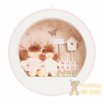 Nicho/ Porta Maternidade 3 Leds C/ Nome Bebê Menina C/ Irmã