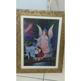 Quadro Anjo Da Guarda 90 X 70 Religioso E Decorativo