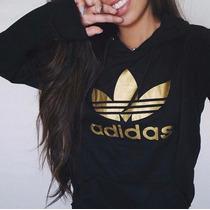 Sweater Adidas Con Capucha Estampado En Dorado Para Dama