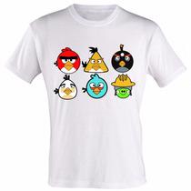 Camiseta Camisa Personalizada Infantil Desenho Angry Birds