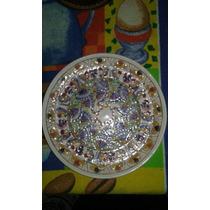 Plato Porcelana Tallada Pintado A Mano Artesania D: 23.5 Cm
