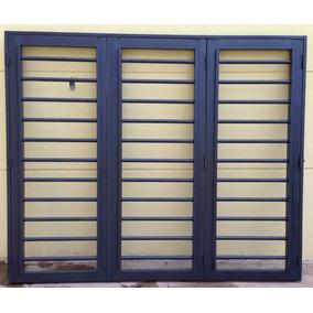 Portón De Abrir Chapa Garage Reja Tubo Horizontal 240x200