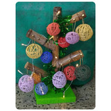 Arbol De Caña C/ Bolas De Hilo - Decoración Navidad