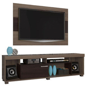 Rack Com Painel Para Tv De Até 55 Madetec - Amêndoa E Ébano
