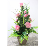 Arranjo Artificial Rosas Grandes Vaso Madeira - 60cm Altura