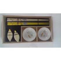 Kit Sushi Sushiman Palitos Potes Porcelanas Amarelo