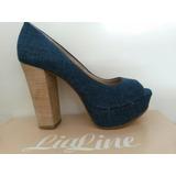 Sapato Feminino Pipitu Lia Line Salto Alto Grosso Azul Jeans