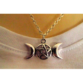 Colar Mistico Triluna Pentagrama Simbolo Wicca,3 Divindades.