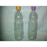 Botella De Vidrio Agua Leche Jugo 1litro Con Tapon