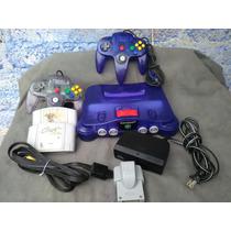 Nintendo 64 Morado,uva Con Expancion,mario Kart 2 Contro N64