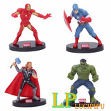 Set 5 Vengadores Iron Thor Hulk America Spider Torta