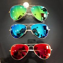 Óculos Aviador Colorido Espelhado Azul Vermelho Verde Prata