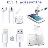 4 Acessórios Iphone Originais / Fone /cabo / Película /capa