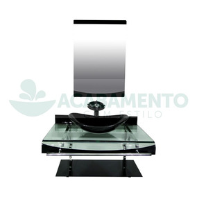 Gabinete Vidro 70 Cm Cuba Oval Preto + Misturador + Kit Ace