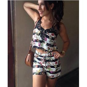 Conjunto Short E Blusa Feminino Cropped Curto