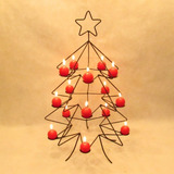 Árvore 66 Cm Porta Vela Pinheiro Estrela Decorativo Natal