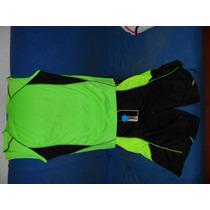 3 Conjunto De Short Y Franela Negro Con Verde Fluorescente