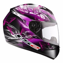 Casco Ls2 Ff352 Flutter Rosa Violeta Mujer Dama Motos Miguel