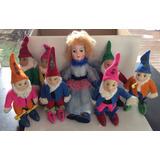 Antiguos Muñecos De Blancanieves Y Los 7 Enanitos Paño Lenci