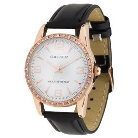 Relógio Backer 3047112 Pulseira Couro Preto Fundo Branco