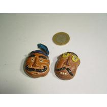 Mini Máscaras Talladas En Hueso O En Semilla Muy Originales