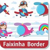 12 Faixa Border Aviador Marinheiro Adesivo Parede Infantil