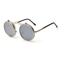 Óculos De Sol Steampunk Duplo Flip Redondo Prata Lente Prata