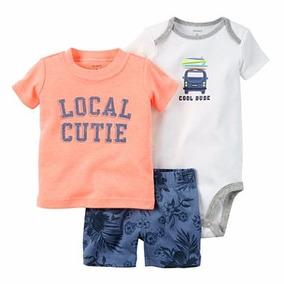 Roupas De Bebe Cj Carters 3pç Body Shorts Camiseta Cool Dude