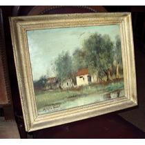 Hermoso Y Antiguo Cuadro Oleo Pintura Firmado M Ruiz Haurat