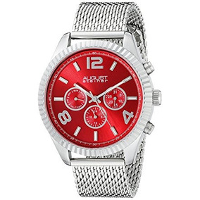 Reloj Agosto Steiner Hombres De As8196rd Redondo Rojo Radia