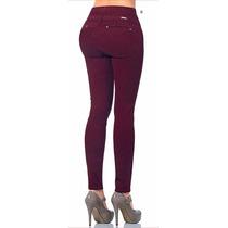 · Jeans Fergino De Gabardina Strech Color Vino Szp367