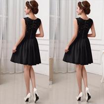 Vestido Negro Fashion Bordado Chiffon+lace Fiesta Grados Coc