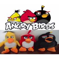 Kit 3 Pelucia Angry Birds Com Musica 25 Cm