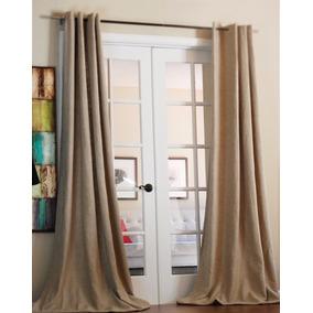 cortinas beige o blancas de lino pesada 2 paos 220x150 cm - Cortinas Lino
