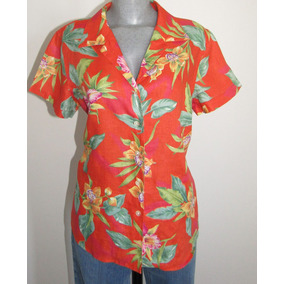 Ralph Lauren Blusa Hawaiiana Talla Mediana 100% Lino