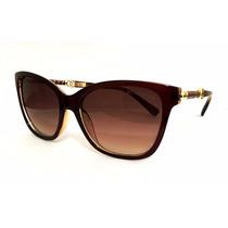 Oculos De Sol Feminino Ch Wayfarer Haste Com Detalhes