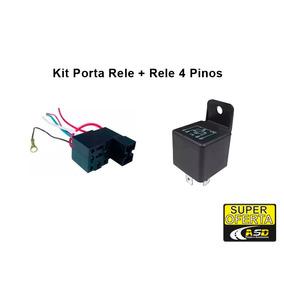 Kit 5 Reles 4 Pinos + 5 Porta Reles Suporte Fusível -10 Pçs