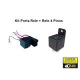 Kit Rele 4 Pinos + Porta Rele Com Suporte Fusível - 12v 40ah