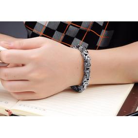Bracelete Pulseira Bizantino Aço Cirúrgico Inox Prata 5mm