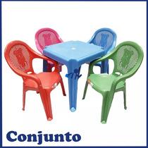 Conjunto Mesa E 4 Cadeira Infantil Colorida Mesa Azul