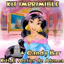 Kit Imprimible Princesa Jazmin Candy Bar Invitaciones 2x1
