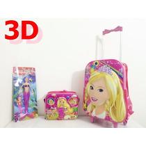 Mochila C/ Rodinhas Barbie Princesa Tam G Lancheira + Brinde