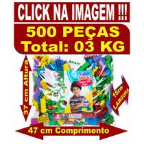 Kit 01 Pacote C/ 500 Peças + 01 Jogo De Boliche C/ 12 Peças